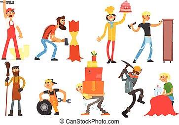 lakás, különböző, állhatatos, emberek, autó, vízvezeték szerelő, készítő, rakodómunkás, bányász, vektor, gondnok, cukrász, favágó, professions., berendezés, varrónő, szerelő