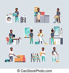 lakás, különböző, állhatatos, férfiak, housecleaning, házimunka, gyűjtés, fogalom, amerikai, tele, betűk, afrikai, hosszúság, hím, karikatúra