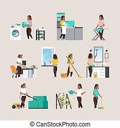 lakás, különböző, állhatatos, női, fogalom, housecleaning, házimunka, háziasszony, amerikai, tele, gyűjtés, betűk, afrikai, hosszúság, karikatúra