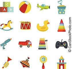 lakás, különböző, gyerekek, ikonok, mód, állhatatos, apró