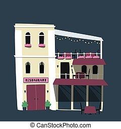 lakás, kevés, illustration., étterem, house., vektor, csinos