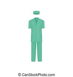 lakás, klasszikus, öltözék, orvosi, worker., sebészeti, suit., vektor, tervezés, hat., hím, short-sleeved, ing, nadrág