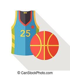 lakás, kosárlabda, sport, ikon