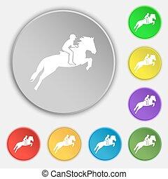 lakás, ló, buttons., árnykép, lovaglási, cégtábla., race., sport., vektor, nyolc, versenyzés, jelkép, derby., ikon