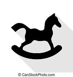 lakás, ló, játékszer, cégtábla., mód, fekete, árnyék, path., ikon