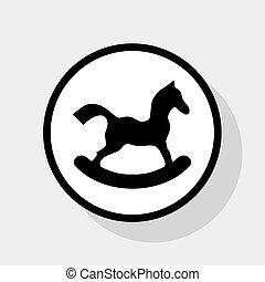 lakás, ló, játékszer, szürke, cégtábla., háttér., karika, fekete, vector., árnyék, fehér, ikon