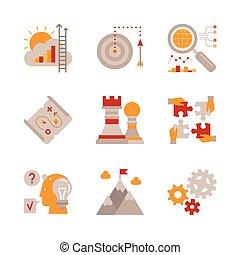 lakás, mód, állhatatos, ügy icons, vektor, fogalom