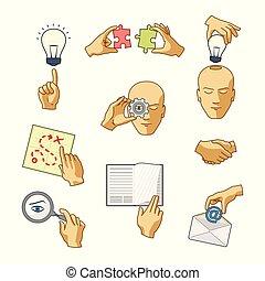 lakás, mód, állhatatos, ügy icons, vektor