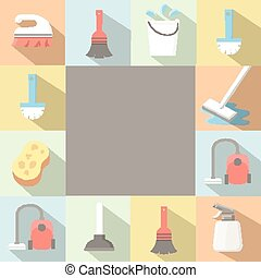 lakás, mód, állhatatos, ikonok, hosszú, alkalmazás, vektor, takarítás, shadows.