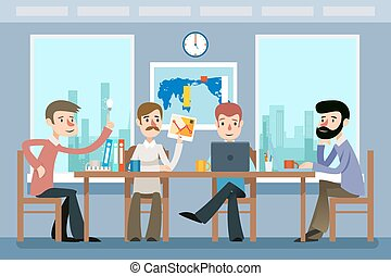 lakás, mód, ügy, dolgozó, hivatal., befog, ábra, vektor, meeting.