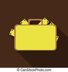lakás, mód, aktatáska, pénz, számla, icon., érme, árnyék