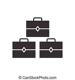 lakás, mód, bőrönd, fekete, fehér, ikon