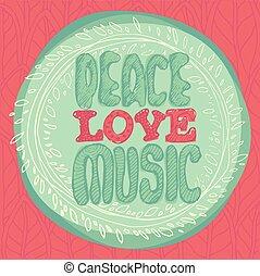 lakás, mód, embléma, ábra, béke, vektor, zene, szeret, érme
