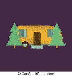 lakás, mód, erdő, árnyékolás, kúszónövény, ikon