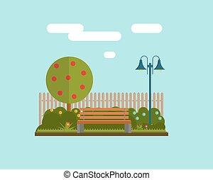 lakás, mód, fa, ábra, bírói szék, vektor, alatt, park.