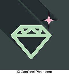 lakás, mód, gyémánt, vektor, árnyék, ikon