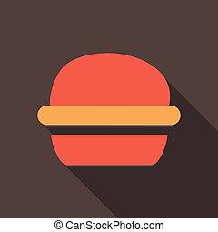 lakás, mód, hamburger, hosszú, árnyék, ikon