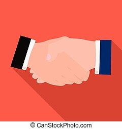 lakás, mód, handshake., jelkép, web., ábra, e-commerce, egyedülálló, vektor, ikon, részvény