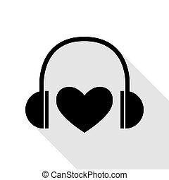 lakás, mód, heart., fejhallgató, fekete, árnyék, path., ikon