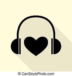 lakás, mód, heart., fejhallgató, háttér., fekete, út, árnyék, ikon, krém