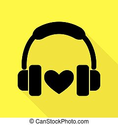 lakás, mód, heart., fejhallgató, sárga, háttér., fekete, út, árnyék, ikon