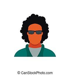 lakás, mód, ikon, szemüveg, ember