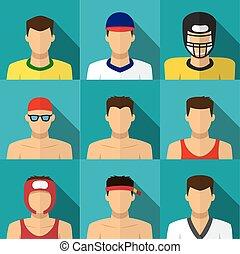 lakás, mód, ikonok, férfiak, hosszú, árnyék, sport