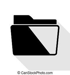 lakás, mód, illustration., aláír, fekete, irattartó, path., árnyék, ikon