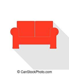 lakás, mód, illustration., pamlag, aláír, árnyék, path., piros, ikon
