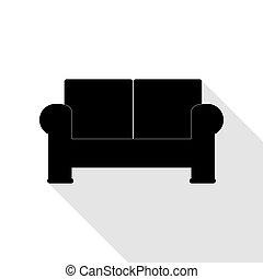 lakás, mód, illustration., pamlag, aláír, fekete, árnyék, path., ikon