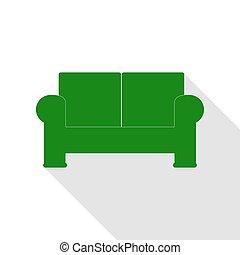 lakás, mód, illustration., pamlag, aláír, zöld, árnyék, path., ikon
