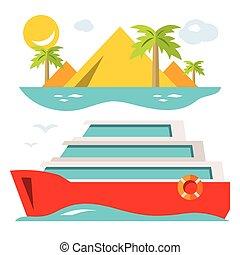 lakás, mód, illustration., színes, ship., vektor, luxury cruise, karikatúra