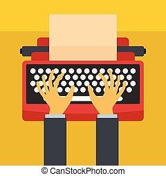 lakás, mód, kézbesít, ikon, írógép, ember