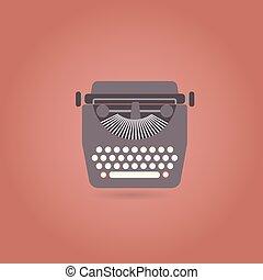 lakás, mód, retro, icon., írógép