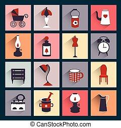 lakás, mód, retro, ikon