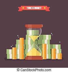 lakás, mód, sandglass, készpénz, pénz