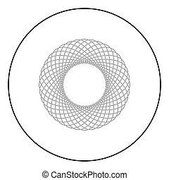 lakás, mód, spirograph, áttekintés, szín, motívum, elvont, grafikus, karika, ábra, elem, alakít, vektor, fekete, körkörös, fractal, kép, kerek, ikon