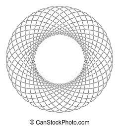 lakás, mód, spirograph, áttekintés, szín, motívum, elvont, grafikus, karika, ábra, elem, alakít, vektor, fekete, körkörös, fractal, kép, ikon