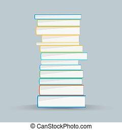 lakás, mód, színezett, books., kazal, elméleti, vektor, előjegyez, concept.