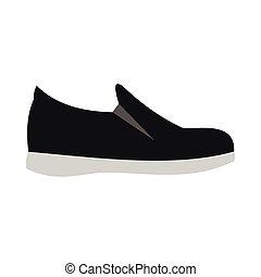 lakás, mód, talp, black cipő, ikon, fehér