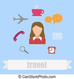 lakás, mód, utazás, ikon
