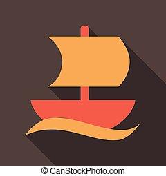 lakás, mód, vitorlás hajó, elszigetelt, árnyék, ikon