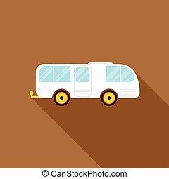 lakás, mód, vontatott lakókocsi, autó, kúszónövény, ikon