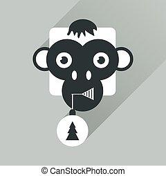lakás, majom, háló, hosszú, árnyék, ikon