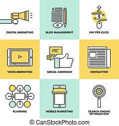 lakás, marketing, digitális, hirdetés, ikonok