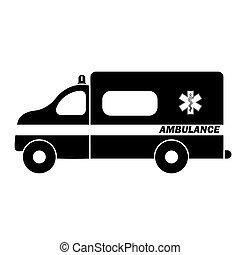 lakás, mentőautó, automobile., szükséghelyzet, vagy, karikatúra, jármű, autó, autó, orvosi