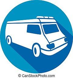 lakás, mentőautó, furgon, ikon