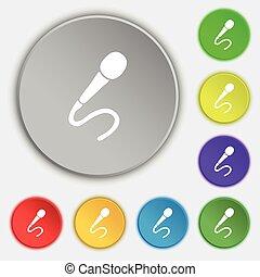 lakás, mikrofon, buttons., jelkép, vektor, öt, cégtábla., ikon