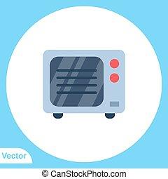 lakás, mikrohullám, ikon, jelkép, aláír, vektor
