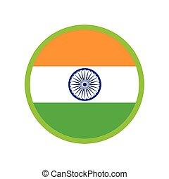 lakás, modern, india lobogó, háttér, fehér, ikon